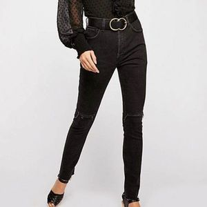 Free People Stella Black High Rise Button Fly Jean